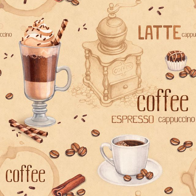Фотожалюзи рулонные   Фон с иллюстрациями чашки кофе и кофейных зерен