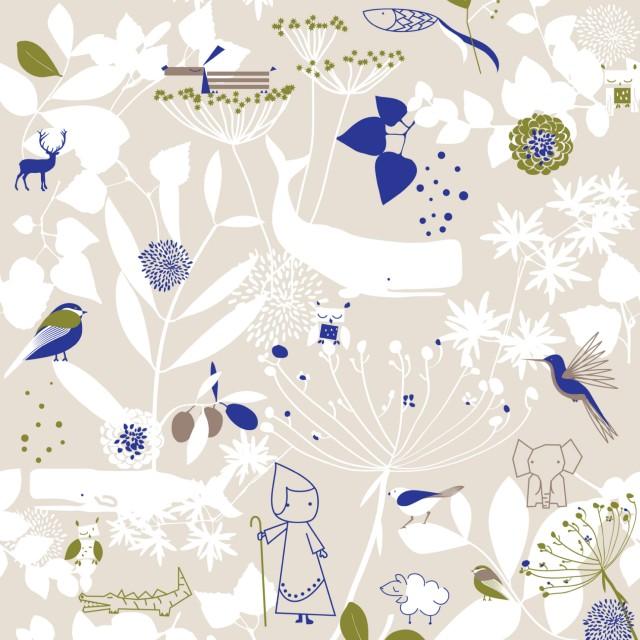 Детский фон 4 для рулонной шторы - Цветочный сад и маленькие друзья