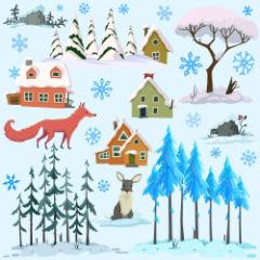 Зимний фон для рулонной шторы, домики, животные, деревья