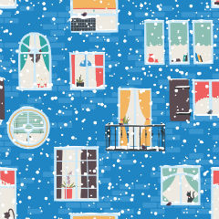Зимний фон для рулонной шторы, дом, окна, снежинки