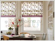 римские шторы с изображением листьев