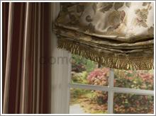 римские шторы с бахромой на нижней кромке