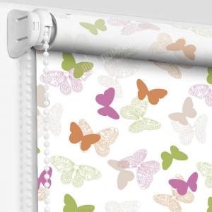 Рулонные шторы с рисунком бабочки розовый