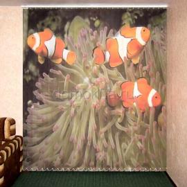 """Вертикальные тканевые жалюзи с фотопечатью """"Рыбки"""""""