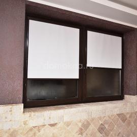 Рулонные шторы уни2 с коричневой фурнитурой 2